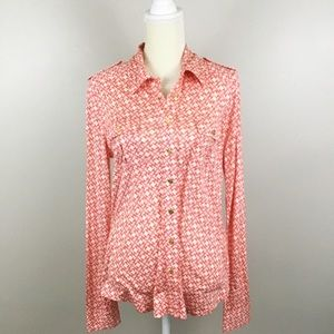 Tory Burch Edie Orange & Pink Button Down Blouse
